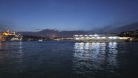 Amazing night illumination and tourist ships reflected in Bosphorus, time lapse. Stock footage stock video