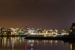 Amazing night lights Sultanate Oman Souly Bay harbour and Hotels Oceanside 6 Stock Image