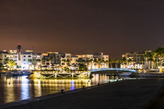 Amazing night lights Sultanate Oman Souly Bay harbour and Hotels Oceanside Stock Images