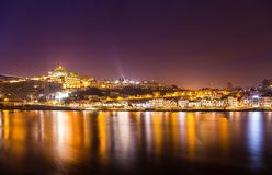Amazing night in old town Porto Portugal Royalty Free Stock Photos