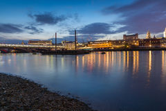 Amazing Night panorama of Blackfriars Bridge and Thames River, London, England Stock Images