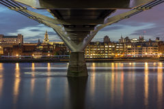 Amazing Night panorama of Thames River, London, England Stock Image