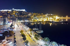 Amazing night photo of embankment and old town of Kavala, Greece Royalty Free Stock Photos