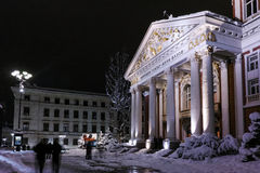 Amazing Night Photo of Ivan Vazov National Theatre, Sofia city Royalty Free Stock Photo