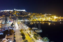 Amazing night photo of old town of Kavala, Greece Royalty Free Stock Photos
