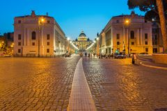 Amazing Night photo of Vatican and St. Peter`s Basilica in Rome, Italy. ROME, ITALY - JUNE 22, 2017: Amazing Night photo of Vatican and St. Peter`s Basilica in Royalty Free Stock Image