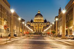 Amazing Night photo of Vatican and St. Peter`s Basilica in Rome, Italy. ROME, ITALY - JUNE 22, 2017: Amazing Night photo of Vatican and St. Peter`s Basilica in Stock Photography