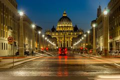 Amazing Night photo of Vatican and St. Peter`s Basilica in Rome, Italy. ROME, ITALY - JUNE 22, 2017: Amazing Night photo of Vatican and St. Peter`s Basilica in Stock Photo