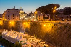Amazing Night photo of Vatican and St. Peter`s Basilica in Rome, Italy. ROME, ITALY - JUNE 22, 2017: Amazing Night photo of Vatican and St. Peter`s Basilica in Stock Photos
