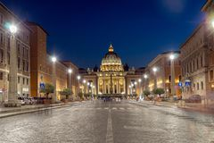 Amazing Night photo of Vatican and St. Peter`s Basilica in Rome, Italy. ROME, ITALY - JUNE 22, 2017: Amazing Night photo of Vatican and St. Peter`s Basilica in Stock Image