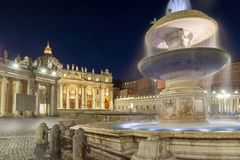 Night photo of Vatican and St. Peter`s Basilica in Rome, Italy. Amazing Night photo of Vatican and St. Peter`s Basilica in Rome, Italy Royalty Free Stock Images
