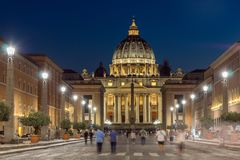 Night photo of Vatican and St. Peter`s Basilica in Rome, Italy. Amazing Night photo of Vatican and St. Peter`s Basilica in Rome, Italy Stock Photo