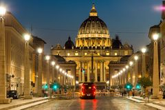 Amazing Night photo of Vatican and St. Peter`s Basilica in Rome, Italy. ROME, ITALY - JUNE 22, 2017: Amazing Night photo of Vatican and St. Peter`s Basilica in Royalty Free Stock Photos