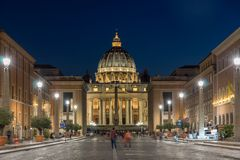 Amazing Night photo of Vatican and St. Peter`s Basilica in Rome, Italy. ROME, ITALY - JUNE 22, 2017: Amazing Night photo of Vatican and St. Peter`s Basilica in Royalty Free Stock Photography