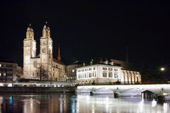 Amazing Night photo of Zurich and Limmat River Royalty Free Stock Photo