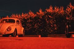 Amazing night shooting of a volkswagen bug oldtimer stock image