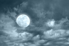 Amazing night sky with shining full moon Royalty Free Stock Photos