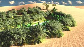 Awesome view on Sahara desert at sunset 3d rendering. Amazing night time more than african desert Royalty Free Stock Photos
