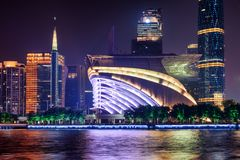 Amazing night view of modern buildings in Guangzhou, China royalty free stock photo