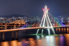 Amazing night view of Olympic Bridge over the Han River stock photo
