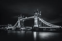 Amazing night view Tower Bridge. Tower Bridge and the river Thames in black and white, London Royalty Free Stock Photo