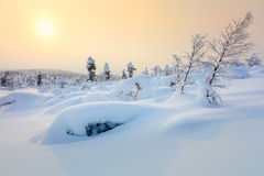 Amazing Northern Winter landscape - Sunset time Stock Images