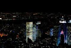 Amazing NYC night aerial view. Manhattan district. USA royalty free stock photos