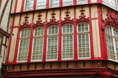 Free Amazing Old Red Carved Window Frames Of Rouen, Normandy Stock Images - 163209284