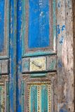Amazing old wooden door from egypt. An amazing old blue wooden door comes from Egypt and is being sold at a salvage yard in Michigan USA stock photo