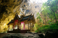 Amazing Oriental Thai Style Pavillion in the Cave Stock Images
