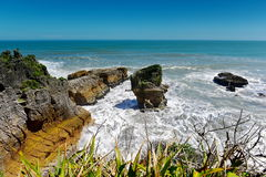 Amazing Pancake Rocks formations at Paparoa National Park in New Zealand. Amazing Pancake Rocks formations at Paparoa National Park in West Coast, New Zealand stock photo