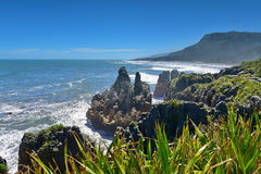 Amazing Pancake Rocks formations at Paparoa National Park in New Zealand. Amazing Pancake Rocks formations at Paparoa National Park in West Coast, New Zealand stock photography