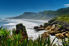 Amazing Pancake Rocks formations at Paparoa National Park in New Zealand. Amazing Pancake Rocks formations at Paparoa National Park in West Coast, New Zealand stock images