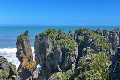 Amazing Pancake Rocks formations at Paparoa National Park in New Zealand. Amazing Pancake Rocks formations at Paparoa National Park in West Coast, New Zealand royalty free stock image