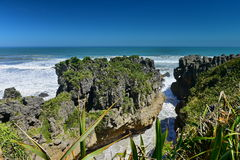 Amazing Pancake Rocks formations at Paparoa National Park in New Zealand Stock Photos