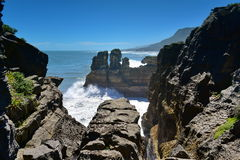 Amazing Pancake Rocks formations at Paparoa National Park in New Zealand Stock Photography