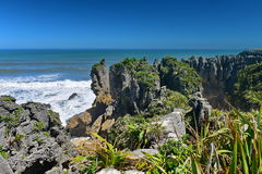Amazing Pancake Rocks formations at Paparoa National Park in New Zealand. Amazing Pancake Rocks formations at Paparoa National Park in West Coast, New Zealand royalty free stock photo