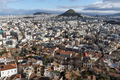 Amazing panorama from Acropolis to city of Athens, Greece Stock Images