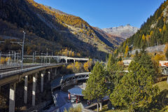 Amazing panorama of Alps and Tunnel under the mountain Royalty Free Stock Photo