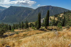 Amazing Panorama of Amphitheater in Ancient Greek archaeological site of Delphi, Greece Stock Images