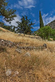 Amazing Panorama of Amphitheatre in Ancient Greek archaeological site of Delphi, Greece Royalty Free Stock Photo