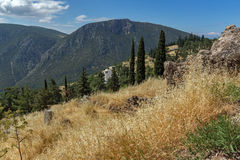 Amazing Panorama of Amphitheatre in Ancient Greek archaeological site of Delphi, Greece Stock Image