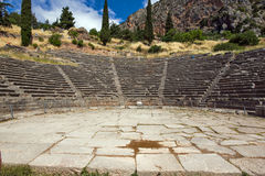 Amazing Panorama of Amphitheatre in Ancient Greek archaeological site of Delphi, Greece Royalty Free Stock Photos