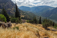 Amazing Panorama of Amphitheatre in Ancient Greek archaeological site of Delphi, Greece Stock Photo