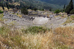 Amazing Panorama of Amphitheatre in Ancient Greek archaeological site of Delphi, Greece Stock Images