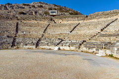 Amazing panorama of Ancient amphitheater in the archeological area of Philippi, Greece Stock Photo
