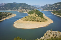 Amazing Panorama of Arda River meander and Kardzhali Reservoir Royalty Free Stock Photography