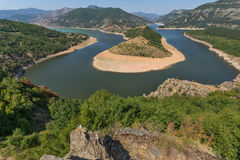Amazing Panorama of Arda River meander and Kardzhali Reservoir Stock Images