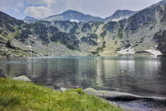 Amazing panorama of Banderishki Chukar Peak and The Fish Lake, Pirin Mountain. Bulgaria Stock Photos