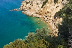 Amazing panorama with blue waters in Thassos island, Greece Royalty Free Stock Image